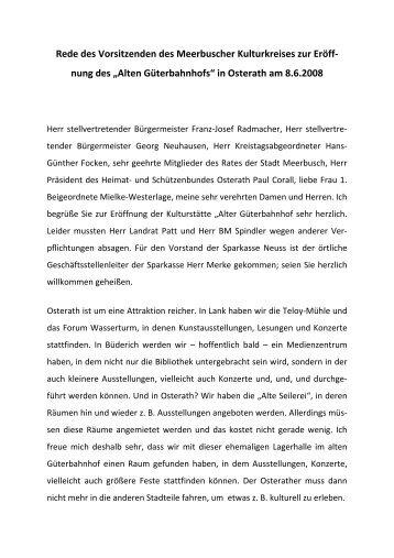 Rede des Vorsitzenden des MKK, Dr. Lothar Beseler - Meerbuscher ...