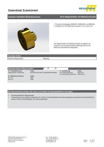 Datenblatt Magnethalter mit Madenschrauben - Megatron