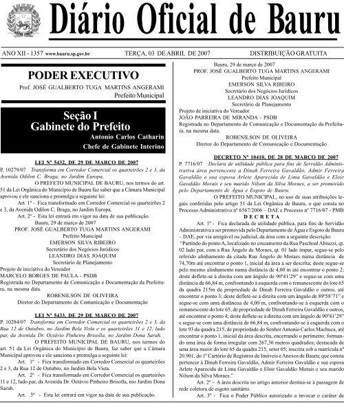 PODER EXECUTIVO Seção I Gabinete do Prefeito - Prefeitura ...