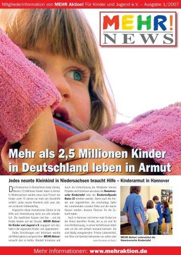 Newsletter MEHR, Ausgabe 1/2006 - MEHR Aktion! für Kinder und ...