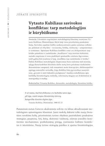 Vytauto Kubiliaus savivokos konfliktas - Lietuvių literatūros ir ...