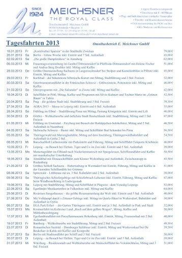 Tagesfahrten - Omnibusbetrieb und Reisebüro E. Meichsner GmbH