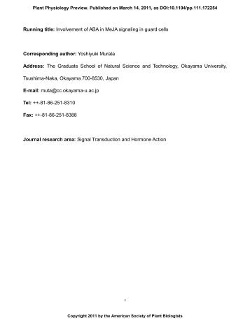 Running title: Involvement of ABA in MeJA ... - Plant Physiology