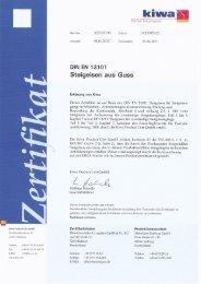 Zertifikat MeierGuss Limburg GmbH DIN EN 13101 Steigeisen