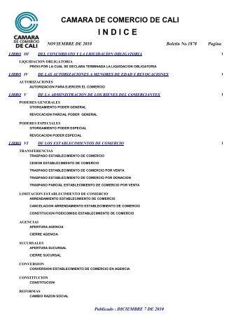 Indice boletin 1878 noviembre de 2010 - Cámara de Comercio de Cali