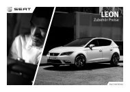SEAT Leon Zubehör Preisliste Österreich Jänner 2013