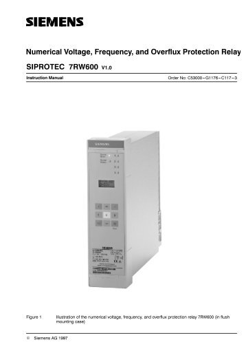 Numerical voltage )reTuency and Overflux Protection ... - SIPROTEC