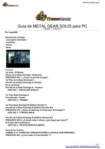Guia de METAL GEAR SOLID para PC - Trucoteca.com