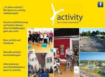"""""""10 Jahre activity"""": Wir feiern im activity- Jubiläumsjahr Service und ..."""