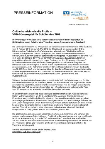 Presseinfo als PDF (85 KB) - Vereinigte Volksbank eG - meine VVB ...