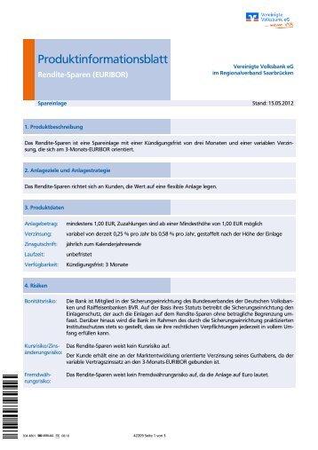 Renditesparen - VVB Vereinigte Volksbank eG im Regionalverband