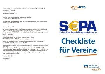 VVB-Checkliste SEPA für Vereine (PDF, 172 KB, Stand: 03/2013)