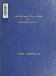 Divine infinity in the writings of Saint Thomas Aquinas