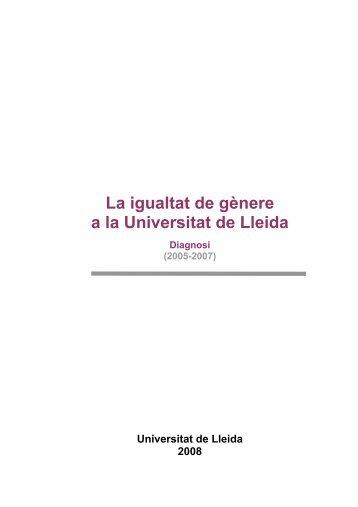La igualtat de gènere a la Universitat de Lleida - Centre Dolors ...