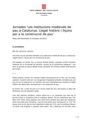 Les institucions medievals de pau a Catalunya. Llegat històric i ...