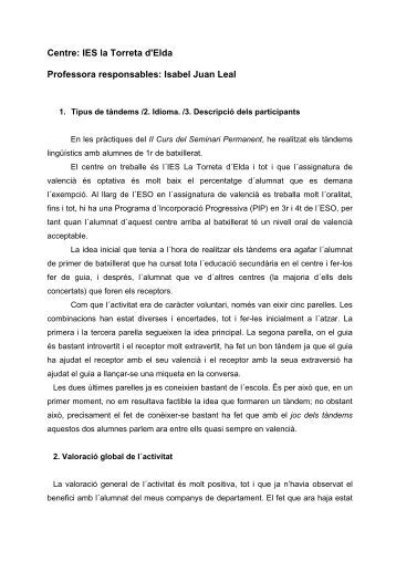 IES la Torreta d'Elda Professora responsables: Isabel Juan Leal
