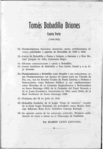 Tomás Bobadilla Briones, Cuarta Parte - BAGN