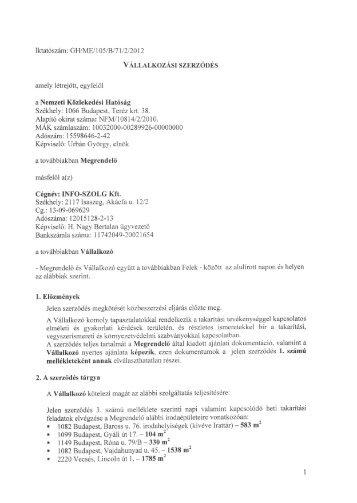 Szerződés NKH-INFO-SZOLG Kft - Nemzeti Közlekedési Hatóság