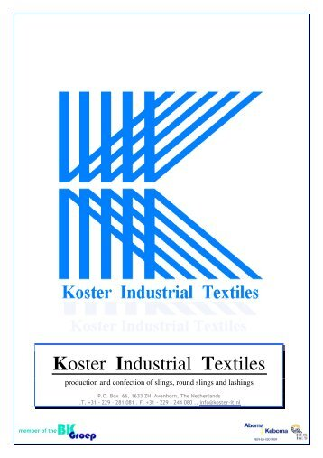 Products brochure in PDF-format - Koster Industrial Textiles B.V.