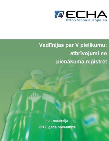 Vadlīnijas par V pielikumu - ECHA - Europa