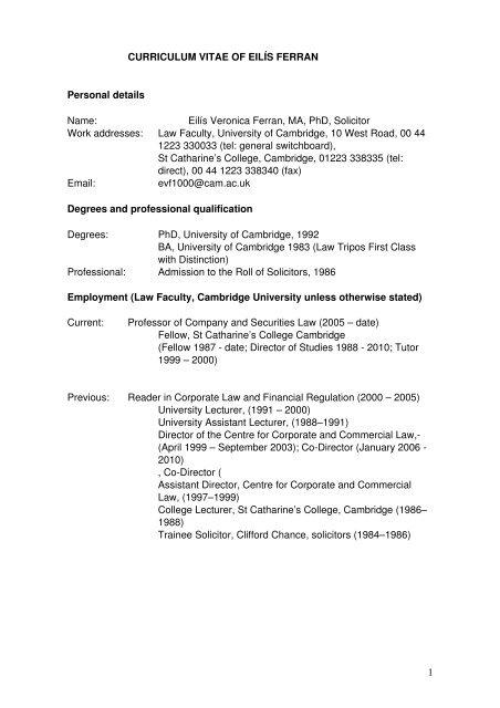 Curriculum Vitae Of Eilis Ferran Faculty Of Law