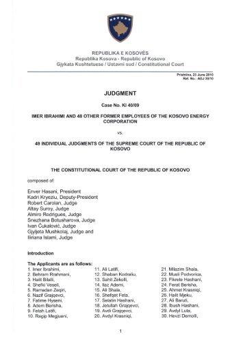 JUDGMENT - Gjykata Kushtetuese