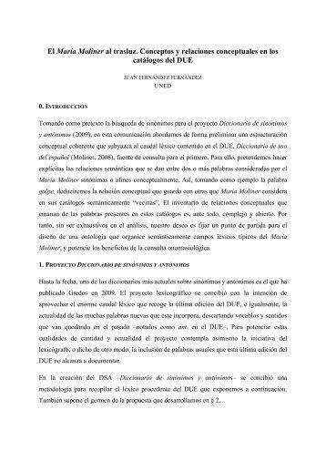 El María Moliner al trasluz. Conceptos y relaciones conceptuales en ...