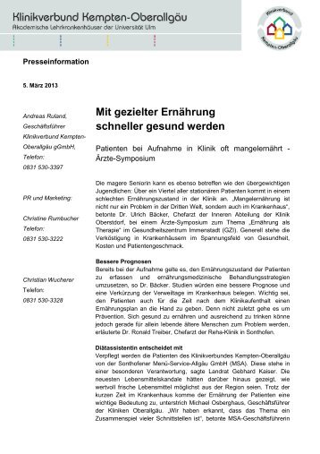 Ernährung als Therapie - Menü-Service-Allgäu