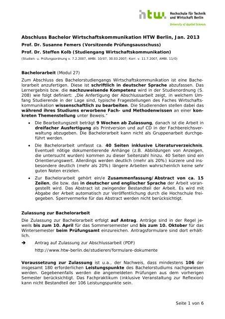 Informationen Zur Abschlussarbeit Pdf Wirtschaftskommunikation