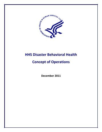 HHS Disaster and Behavioral Health Concept of Operations - PHE