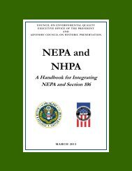 Nepa and nhpa - Advisory Council on Historic Preservation