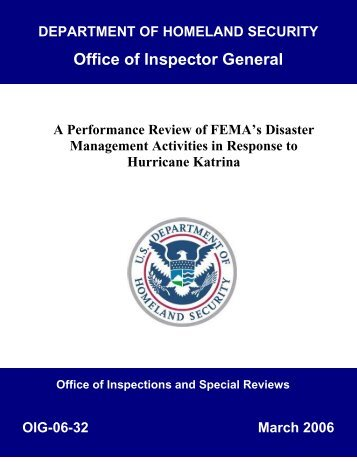 A Performance Review of FEMA's Disaster Management Activities in ...