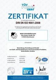 DIN EN ISO 9001:2008 - Menz Stahlwaren GmbH