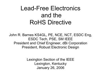 Lead-Free Electronics and the RoHS Directive - dBi Corporation