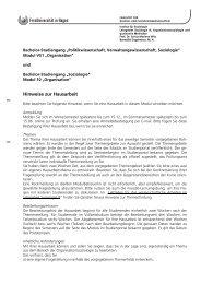 Hinweise zur Hausarbeit - Fernuniversität in Hagen
