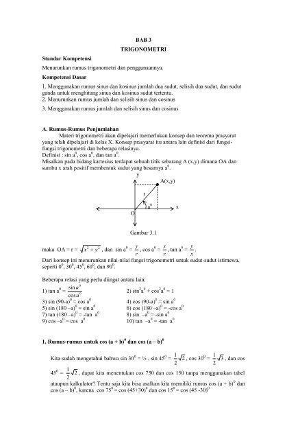Bab 3 Trigonometri Standar Kompetensi Menurunkan Rumus