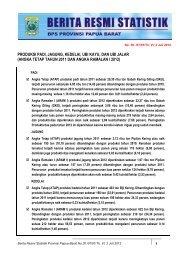 Produksi Padi, Jagung, Kedelai, Ubi Kayu, Dan Ubi - BPS Papua Barat