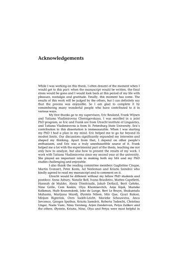 Acknowledgements - LOT publications