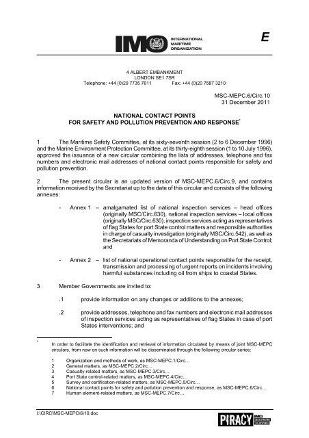 Msc Mepc 6 Circ 10 31 December 2011 National Imo