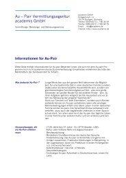 Informationen für Au-Pair - academis