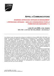 appel a communications journees approches critiques en ... - EM Lyon