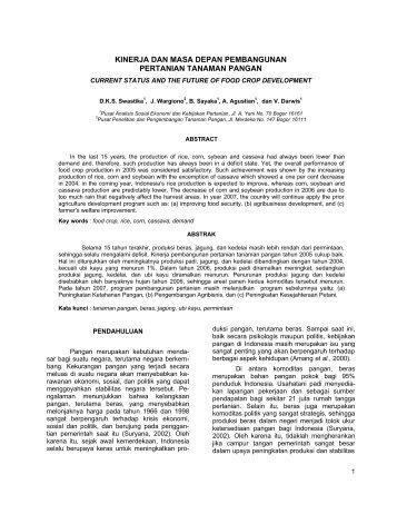 Kinerja dan Masa Depan Pembangunan Pertanian Tanaman Pangan