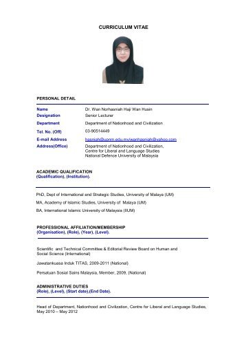 curriculum vitae universiti pertahanan nasional malaysia upnm