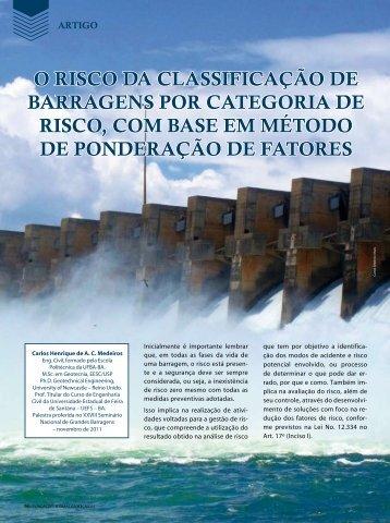 O RISCO DA CLASSIFICAçãO DE BARRAGENS POR CATEGORIA ...