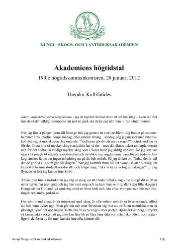 Högtidstal 2012 Theodor Kallifatides - och Lantbruksakademien