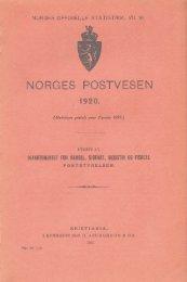 Norges Postvesen 1920 - SSB