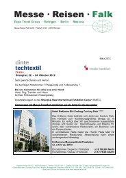 Cinte techtex China 2012 - Messe Reisen Falk
