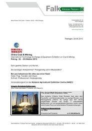 China Coal & Mining 2013 - Messe Reisen Falk