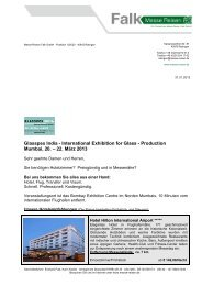 GLASSPEX INDIA 2013 - Messe Reisen Falk