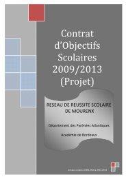 Contrat d'objectifs scolaires 2009 2013 - Académie de Bordeaux